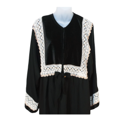 Women's TMS Long Crocheted Patterned Top Abaya
